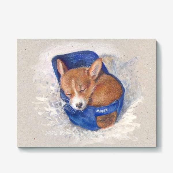Холст «Малыш корги . щенок ,подарок»