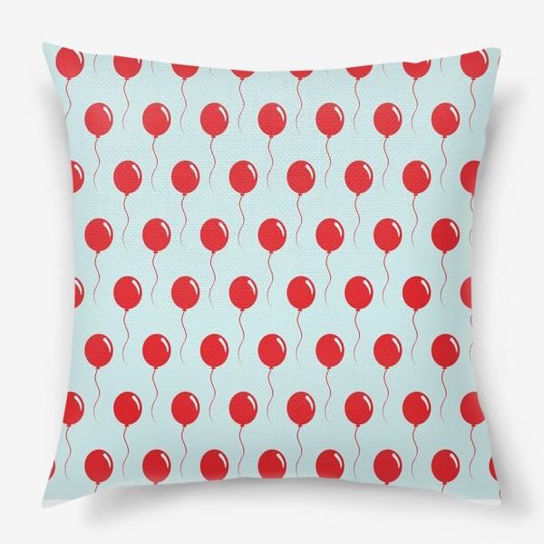 Подушка «Красные воздушные шарики на веревке на голубом фоне»