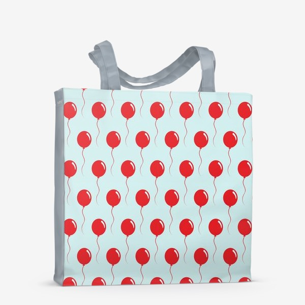 Сумка-шоппер «Красные воздушные шарики на веревке на голубом фоне»