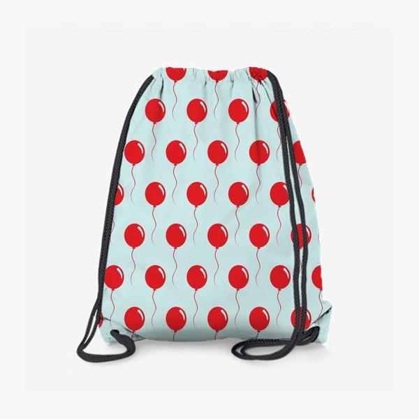 Рюкзак «Красные воздушные шарики на веревке на голубом фоне»