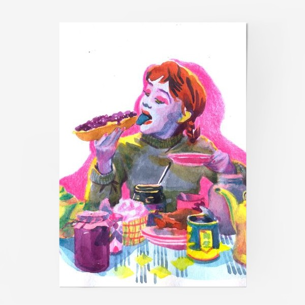 Постер «Поп-арт, завтрак , еда ,кино»