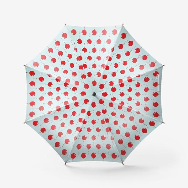 Зонт «Красные воздушные шарики на веревке на голубом фоне»