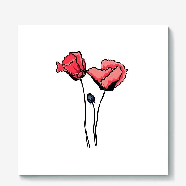Холст «Красные маки с волнистыми лепестками и коробочкой с семенами»