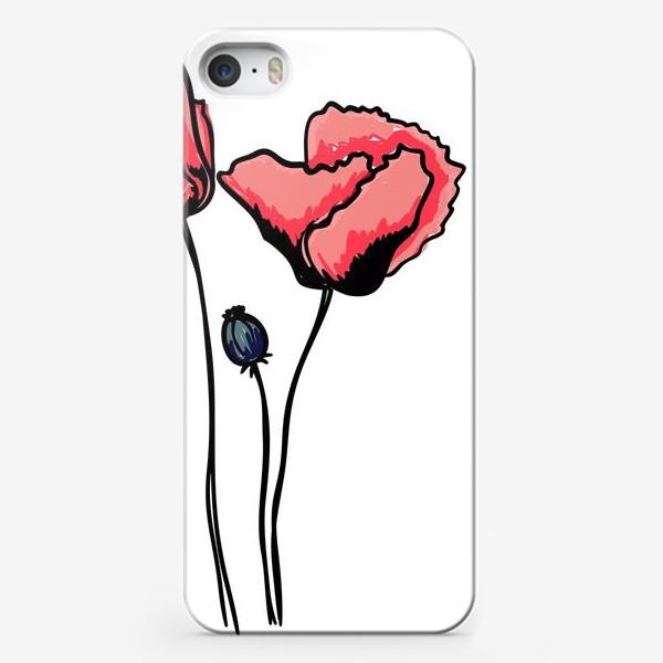 Чехол iPhone «Красные маки с волнистыми лепестками и коробочкой с семенами»