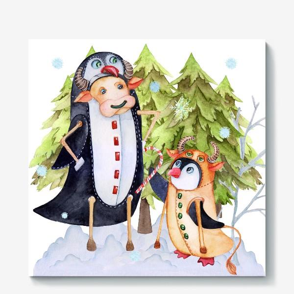 Холст «Год быка. Новогодняя открытка с пингвином и быком.»