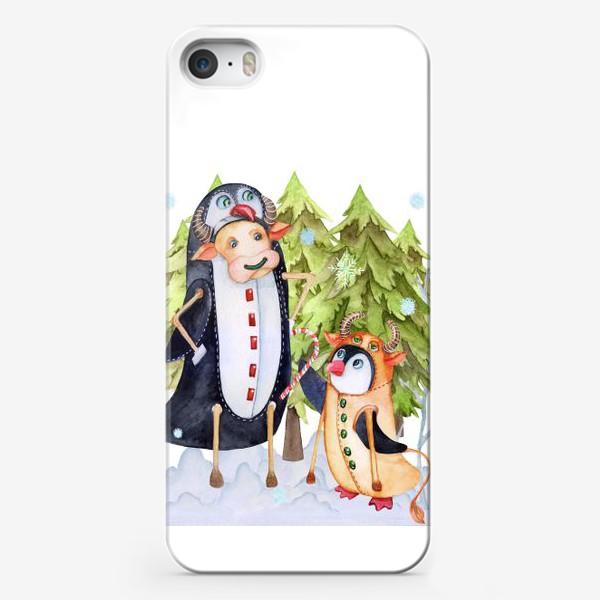 Чехол iPhone «Год быка. Новогодняя открытка с пингвином и быком.»