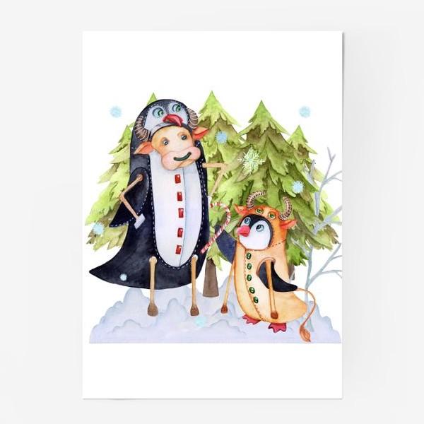 Постер «Год быка. Новогодняя открытка с пингвином и быком.»