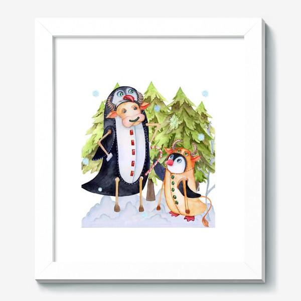 Картина «Год быка. Новогодняя открытка с пингвином и быком.»