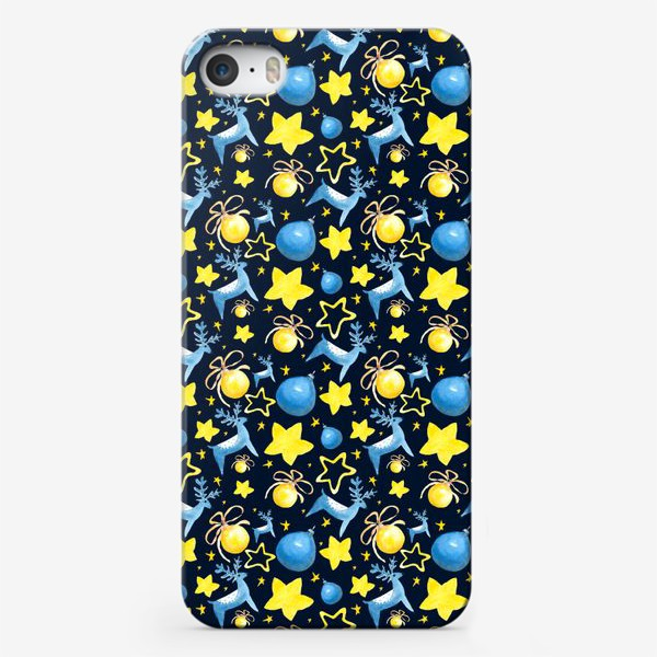Чехол iPhone «Новогодний паттерн из ёлочных игрушек и звёзд»