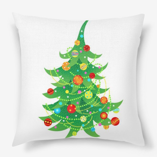 Подушка «Новогодняя елка с яркими шарами и бусами»