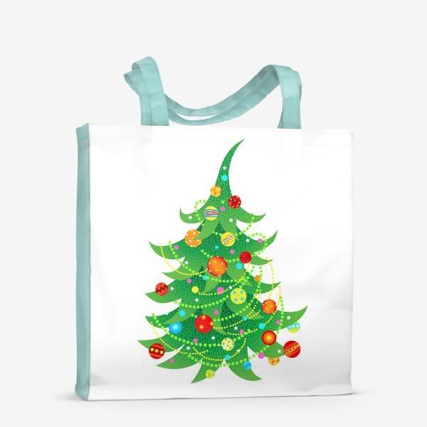 Сумка-шоппер «Новогодняя елка с яркими шарами и бусами»