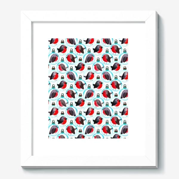 Картина «Паттерн ёлочные шары со снегирями»