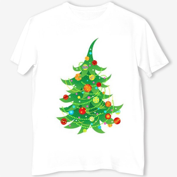 Футболка «Новогодняя елка с яркими шарами и бусами»