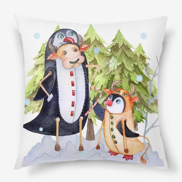 Подушка «Год быка. Новогодняя открытка с пингвином и быком.»