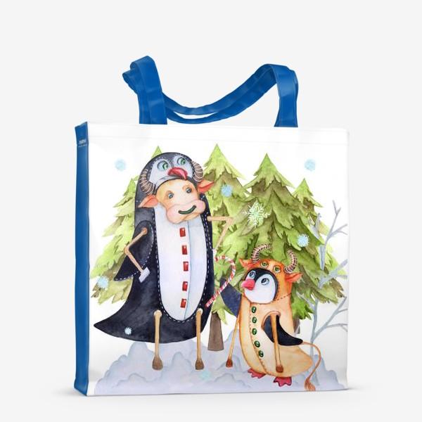 Сумка-шоппер «Год быка. Новогодняя открытка с пингвином и быком.»