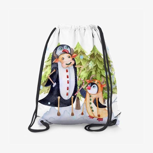Рюкзак «Год быка. Новогодняя открытка с пингвином и быком.»