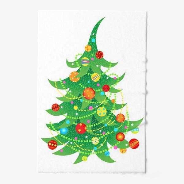 Полотенце «Новогодняя елка с яркими шарами и бусами»