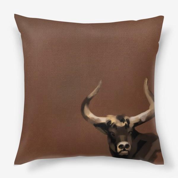 Подушка «Бык пастелью»