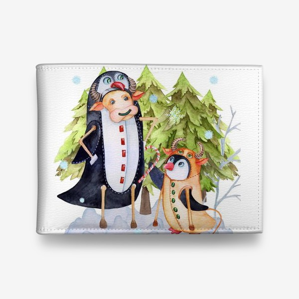 Кошелек «Год быка. Новогодняя открытка с пингвином и быком.»