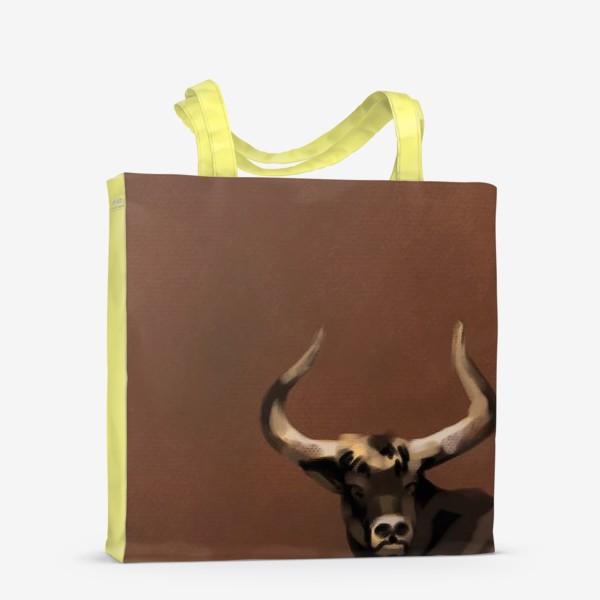 Сумка-шоппер «Бык пастелью»