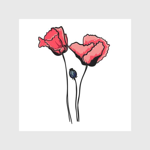 Скатерть «Красные маки с волнистыми лепестками и коробочкой с семенами»