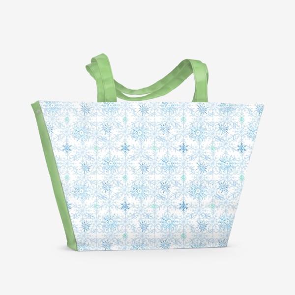 Пляжная сумка «Голубые снежинки»