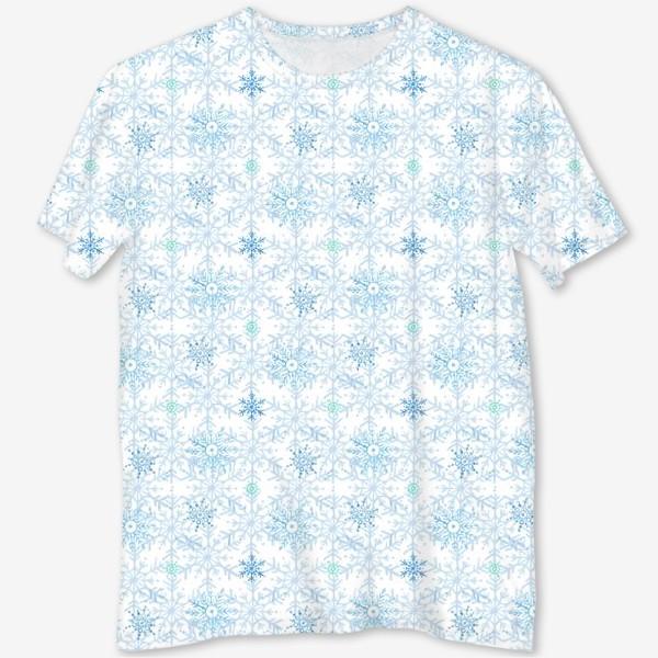Футболка с полной запечаткой «Голубые снежинки»
