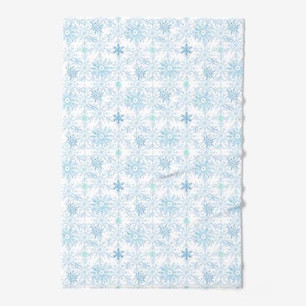 Полотенце «Голубые снежинки»