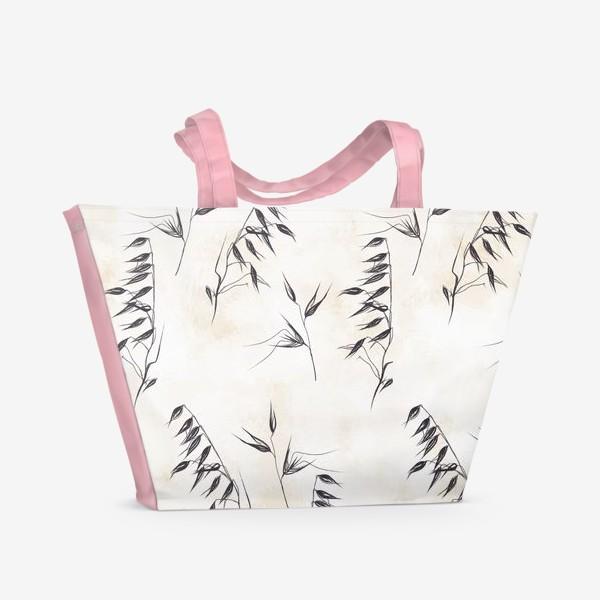 Пляжная сумка «Колоски графичный паттерн»
