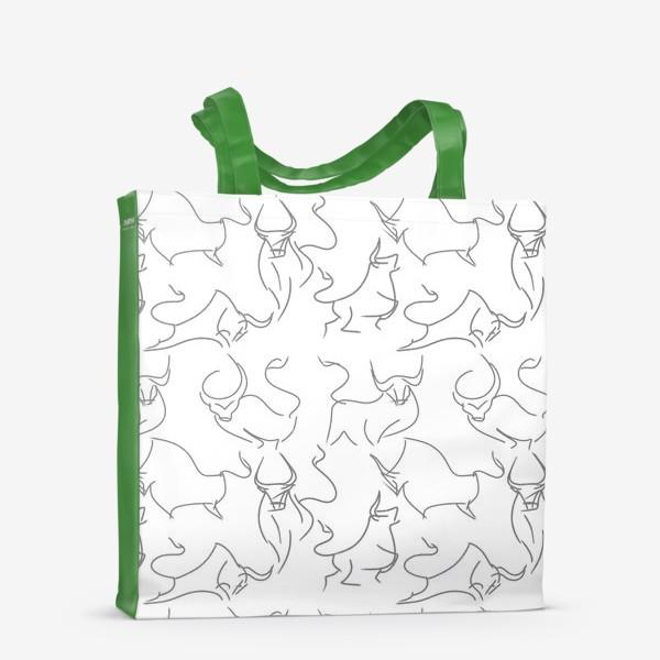 Сумка-шоппер «Паттерн быки на белом»