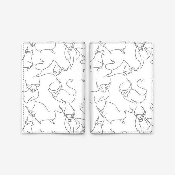 Обложка для паспорта «Паттерн быки на белом»