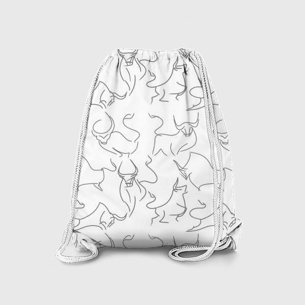 Рюкзак «Паттерн быки на белом»