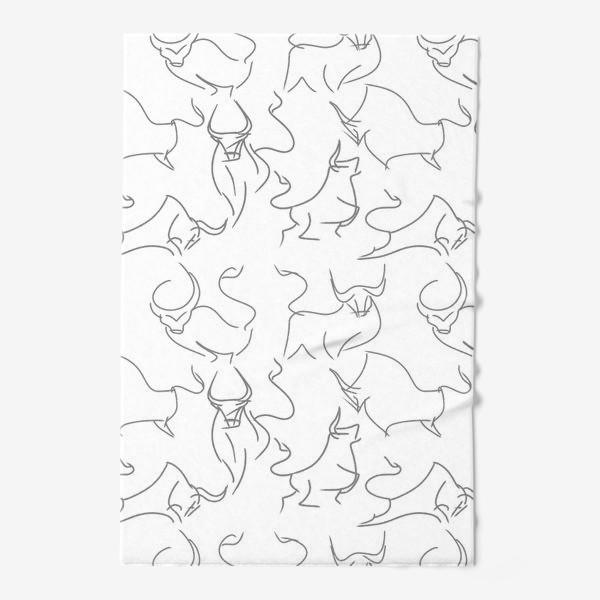 Полотенце «Паттерн быки на белом»