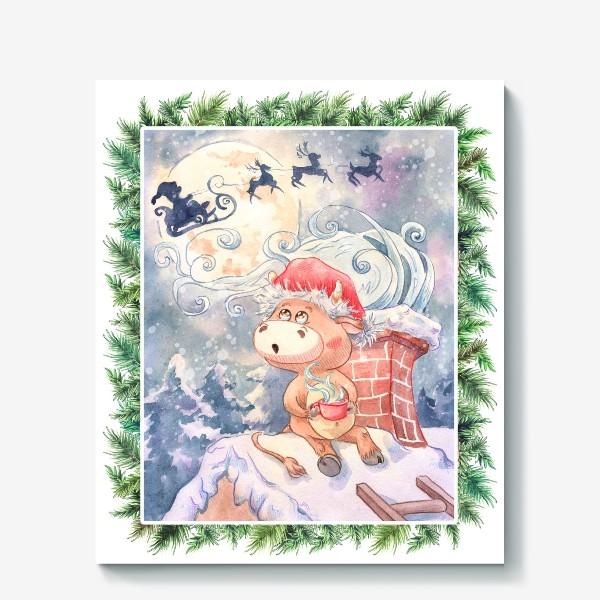 Холст «Бычок и Санта Клаус»