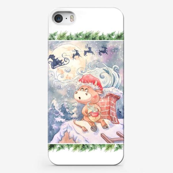 Чехол iPhone «Бычок и Санта Клаус»
