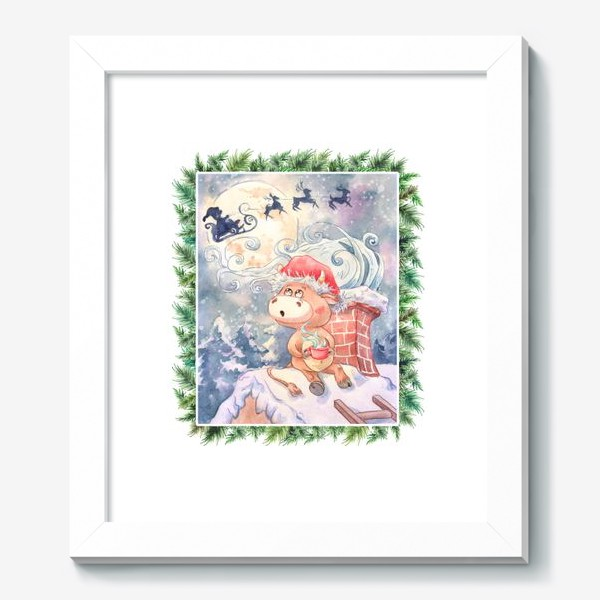 Картина «Бычок и Санта Клаус»