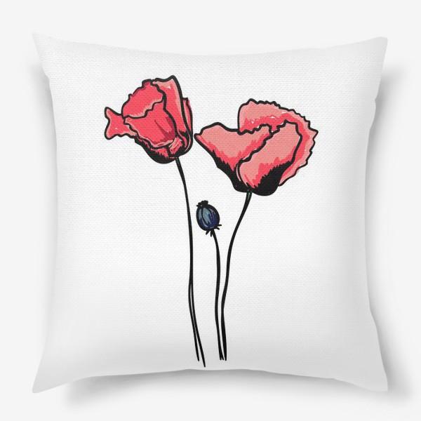 Подушка «Красные маки с волнистыми лепестками и коробочкой с семенами»