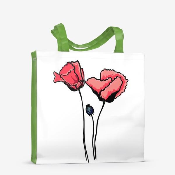 Сумка-шоппер «Красные маки с волнистыми лепестками и коробочкой с семенами»