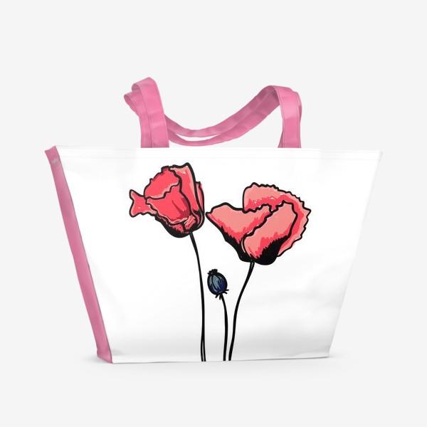 Пляжная сумка «Красные маки с волнистыми лепестками и коробочкой с семенами»