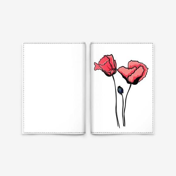 Обложка для паспорта «Красные маки с волнистыми лепестками и коробочкой с семенами»
