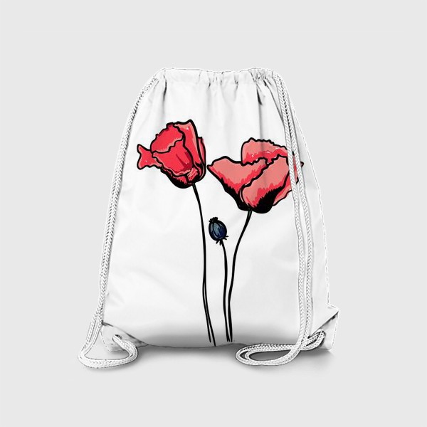 Рюкзак «Красные маки с волнистыми лепестками и коробочкой с семенами»