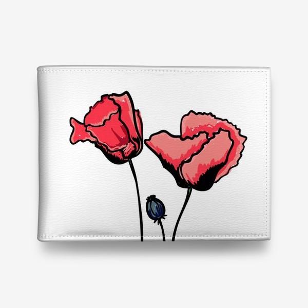 Кошелек «Красные маки с волнистыми лепестками и коробочкой с семенами»