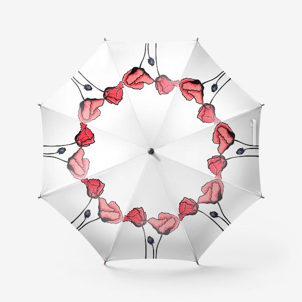 Зонт «Красные маки с волнистыми лепестками и коробочкой с семенами»
