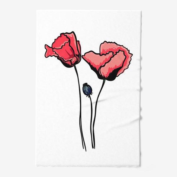 Полотенце «Красные маки с волнистыми лепестками и коробочкой с семенами»