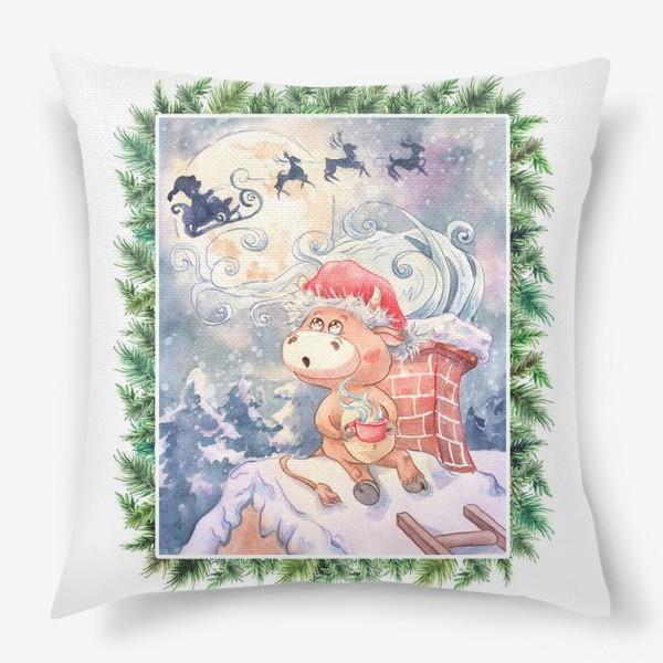 Подушка «Бычок и Санта Клаус»
