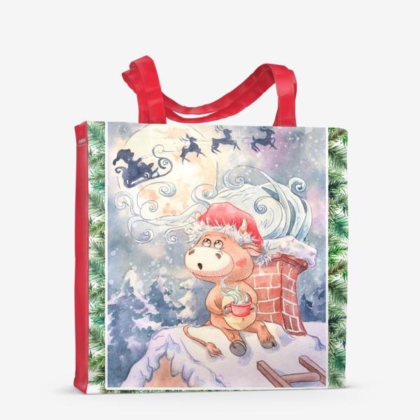 Сумка-шоппер «Бычок и Санта Клаус»