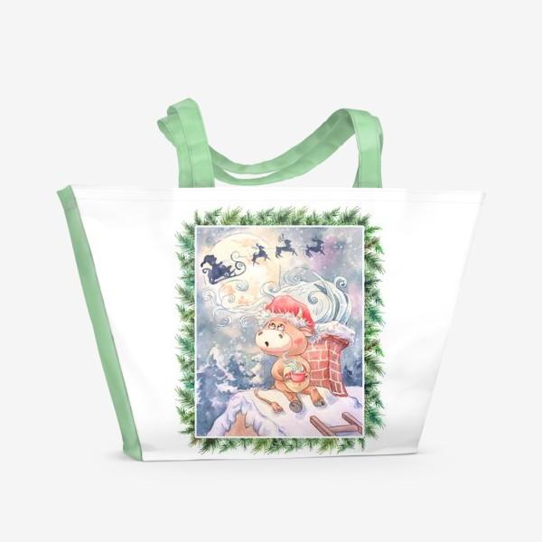 Пляжная сумка «Бычок и Санта Клаус»