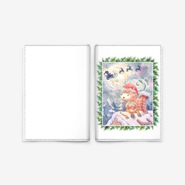 Обложка для паспорта «Бычок и Санта Клаус»