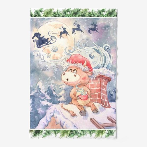 Полотенце «Бычок и Санта Клаус»