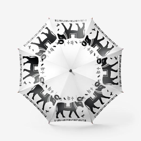 Зонт «Древнеегипетский бог Апис в виде священного быка и древнеегипетские символы»